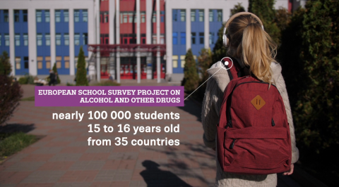 picture of teenage girl seen from behind as she walks towards school. text says: nearly 100 000 students 15-16 years old from 35 countries